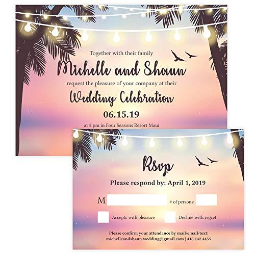 Custom - Beach Wedding Invitation Set - Set of 25, Personalized Wedding Invitation, Destination Wedding, Hawaiian Wedding (Invitation + RSVP - Hawaiian Wedding Invitations
