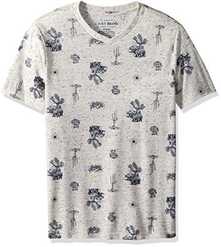 Lucky Brand Big Boys' Short Sleeve Printed Tee Shirt, Oatmeal Heather Desert, Small (8)