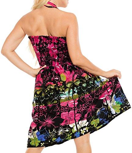 Vestido Playa para Midi de la Falda Mujer Tubo de Superior Ropa Traje de Maxi baño Negro de Aloha Halter Tirantes Vestido d645 Encubrir xS6IOqSd