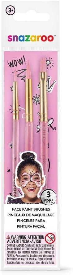 Snazaroo - Set de 3 pinceles de pintura facial, color rosa