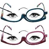 LianSan Designer 2 Pack Makeup Reading Glasses Magnifying Womens Cosmetic Readers Make up Rotating Lens Glasses L3660, PL-BU, 3.00