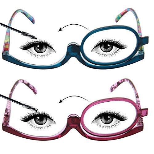 LianSan Designer 2 Pack Makeup Reading Glasses Magnifying Womens Cosmetic Readers Make up Rotating Lens Glasses L3660, PL-BU, - On Designer Eyeglasses Try