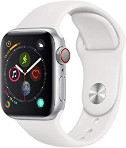 Apple Watch Series 4 (GPS, 40MM) - Silver Aluminum Case with White Sport Band (Renewed)