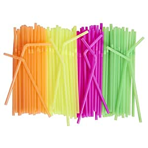 [500 Pack] Neon Colored Drinking Straws - Flexible, Disposable Kid Friendly, Assorted Colors