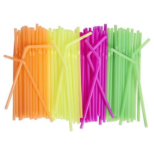([500 Pack] Neon Colored Drinking Straws - Flexible, Disposable Kid Friendly, Assorted Colors)