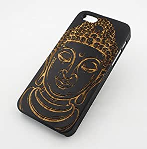 "Black Ink Bamboo Wood Cover for Apple IPHONE 5 / 5S - ""Thai Buddha"" mayan ganesh ohm ganesha hindu peace love god"