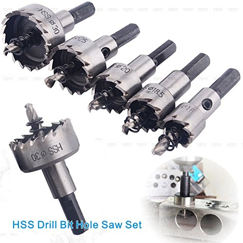 WORTOOL - 5Pcs HSS Drill Bit Hole Saw Set Carbide Tip 16mm 185mm 20mm 25mm 30mm Apply to Aluminum alloy Stainless steel Aluminum Iron Cast iron etc