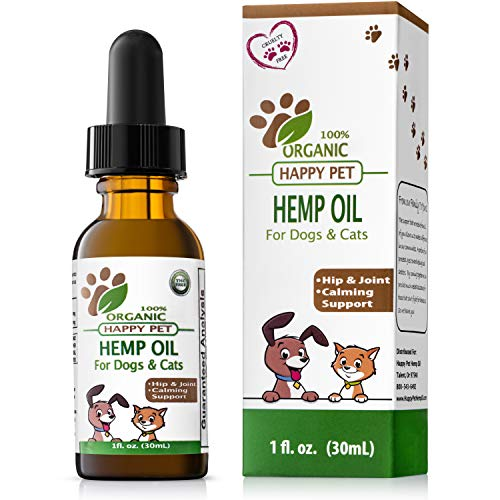 Hemp Oil for Dogs Cats - Best Non-GMO 100% Organic Hemp Oil for Pets -...
