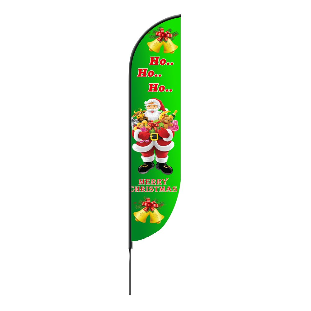 Merry Christmas Feather Flags 2 x 7.58 ( Single Sided )
