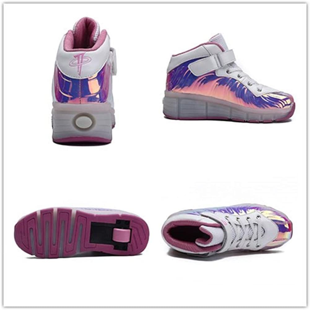 Ehauuo Unisex Wheel Shoes Kids Light up Roller Skate Shoes Girls USB Charge Roller Shoes Boys Flashing Sneakers for Gift