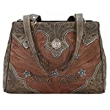 Ameican West Leather Tote -Western Shoulder Handbag -Purse Charm Key Tag (Desert Flower Brown)