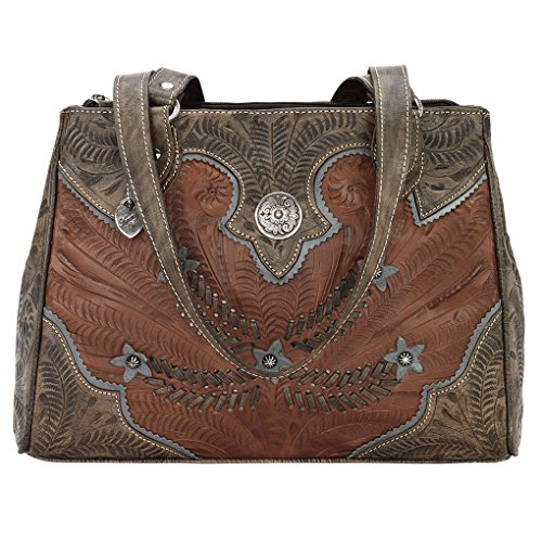 Ameican West Leather Tote -Western Shoulder Handbag -Purse Charm Key Tag (Desert Flower Brown) by American West