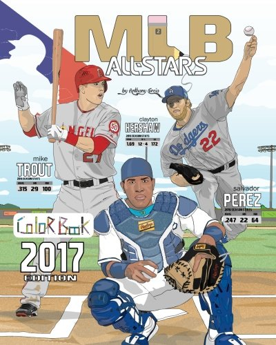 mlb-all-stars-2017-baseball-coloring-book-for-adults-and-kids-feat-trout-cabrera-bryant-kershaw-posey-rizzo-harper-and-many-more