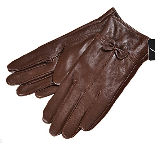 LifeWheel Women Warm Cashmere Lined Nappa Lambskin Leather Gloves Windproof
