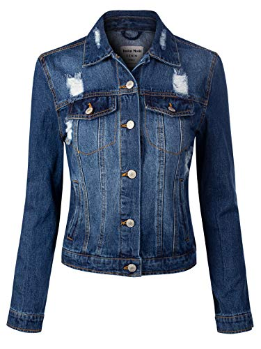 (Instar Mode Women's Vintage Inspired Ripped Cotton Crop Denim Jacket Denim Blue M)