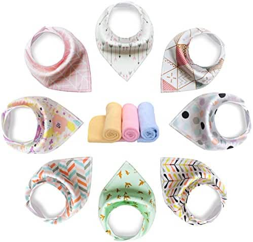YOOFOSS Baby Bandana Drool Bibs 8 Pack 100% Organic Cotton for Boys Girls