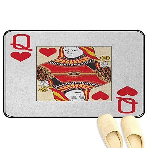 (Queen Floor Comfort Mat Queen of Hearts Playing Card Casino Design Gambling Game Poker Blackjack Vermilion Yellow White Indoor/Outdoor/Front Door/Bathroom Mats Rubber Non Slip W19 x L31 INCH)
