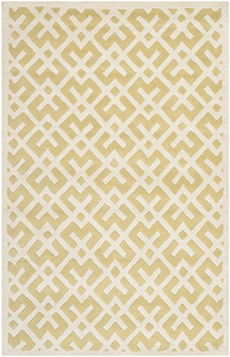 Light Gold Area Rug (Safavieh Chatham Collection CHT719L Handmade Light Gold and Ivory Premium Wool Area Rug (4' x 6'))