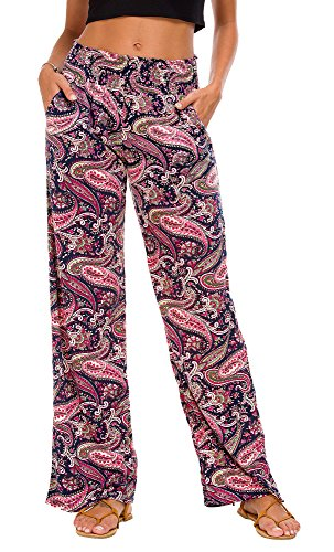 Urban CoCo Women's Boho Palazzo Pants Wide Leg Lounge Pants (XL, (Floral Wide Leg Trouser)