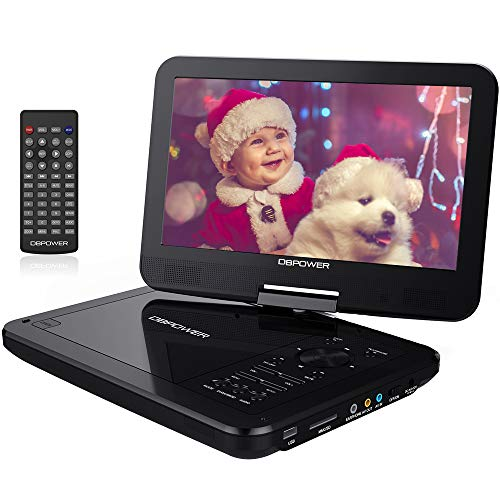 【Upgraded】 DBPOWER Portable DVD Player with 10.5 Swivel Screen, Supports SD Card/USB/CD/DVD with AV in/Out and Earphone Port, 5-Hour Built-in Rechargeable Battery, Suitable for Car Headrest Moun