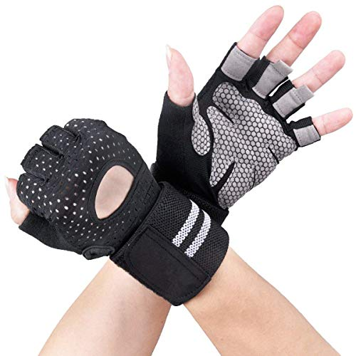 Breathable Ultralight Weight Lifting Sport Gloves, Gym Workout Exercise Gloves with Wrist Wrap Support for Powerlifting, Cross Training, Fitness, Bodybuilding, Best for Men & Women (M) -