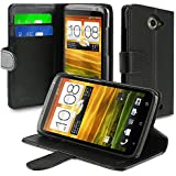 Insten Leather Case with Credit Card Wallet for HTC ONE X - Retail Packaging - Black