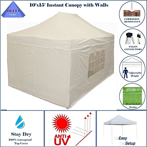 10'x15' Ez Pop up Canopy Party Tent Instant Gazebos 100% Waterproof Top with 4 Removable Sides White - E Model By DELTA Canopies