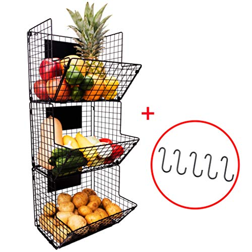 (3 Tier Hanging Wire Basket - Wall Mounted Storage Bins with Adjustable Chalkboards and S-Hooks - Fruit and Pantry Organization - Heavy Duty Iron Metal - Gift Box)