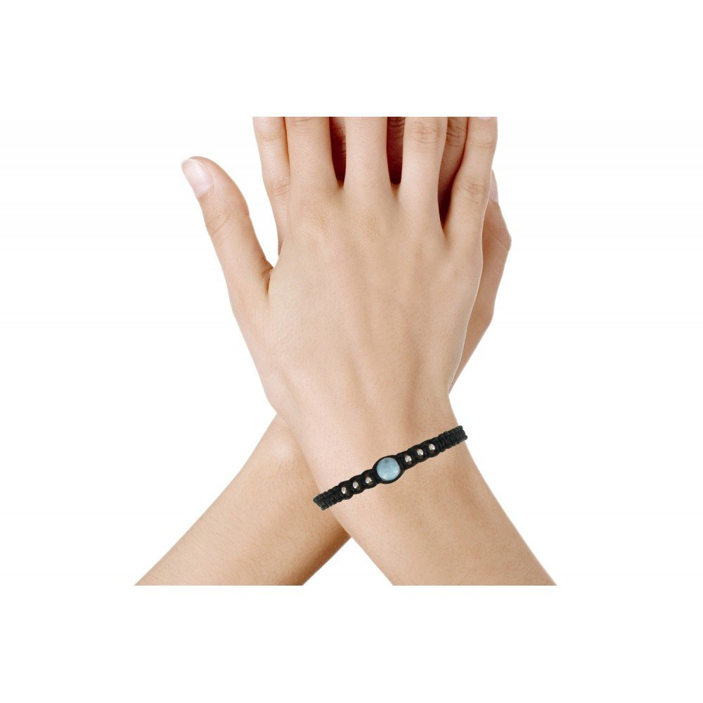 Les Poulettes Jewels Shamballa Bracelet Silver and Blue Dominican Larimar