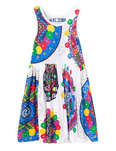 Desigual Girls' Toddler Vest_yaunde Dress, White, 3/4