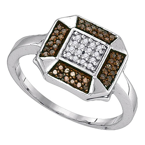 Diamond Cocktail Ring Fashion Band Right Hand Stylish Chocolate Fancy 1/5 ctw Size 9 (Diamond Flower Right Hand Ring)