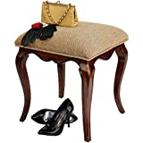 Design Toscano Lady Guinevere Makeup Chair Vanity Stool Bedroom Bench, 20 Inch, Hardwood, Cherry Finish
