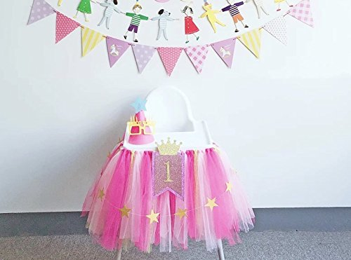 1st 2nd Birthday Baby girl Tutu Skirt for High Chair Decoration and Twinkle Little Star Banner (13 Feet) Happy Birthday Decor for Highchair Party Supply Centerpiece (PINK ROSE ()