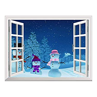 With a Professional Touch, Pretty Object of Art, Cartoon Snowmen Outside of The Window on Christmas Eve Peel and Stick Wall Mural Sticker