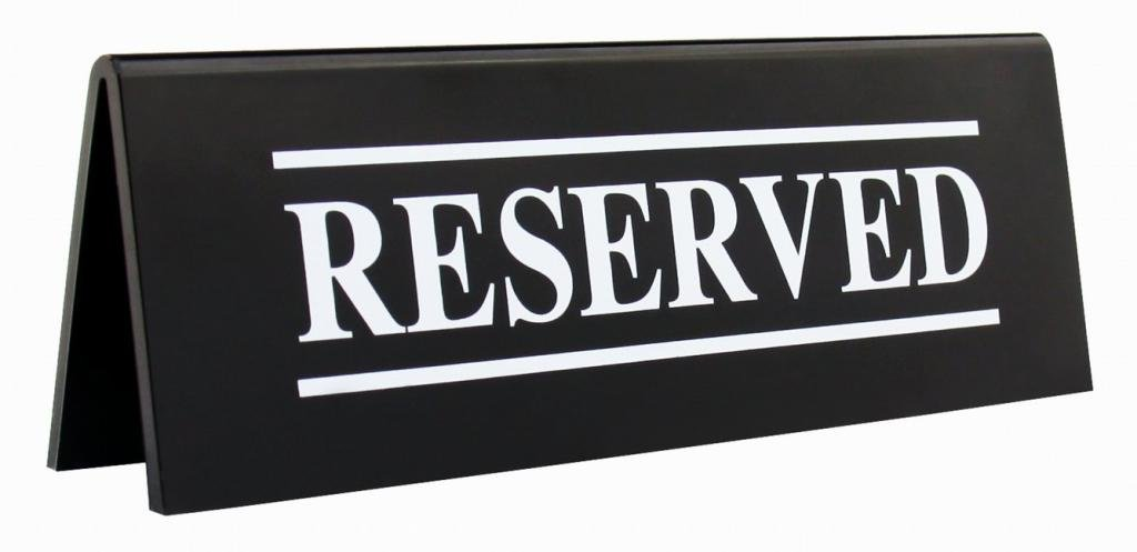 New Star Foodservice 27044 RESERVED Table Tent Sign, Acrylic, 6 x 1.5-Inch, Set of 6 by New Star Foodservice (Image #1)