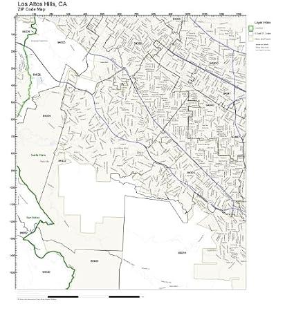 Amazon Com Zip Code Wall Map Of Los Altos Hills Ca Zip Code Map