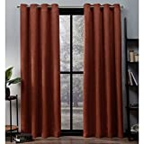 Exclusive Home Oxford Textured Sateen Thermal Window Curtain Panel Pair with Grommet Top, 52×96, Mecca Orange, 2 Piece Review