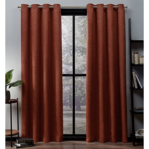 Exclusive Home Oxford Textured Sateen Thermal Window Curtain Panel Pair with Grommet Top, 52x84, Mecca Orange, 2 Piece