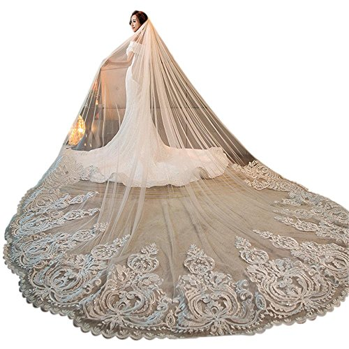 Women's 3M 3.5M 4M 1T Lace Applique Chapel Cathedral Bridal Veil With Free Comb (White, 3M Length)