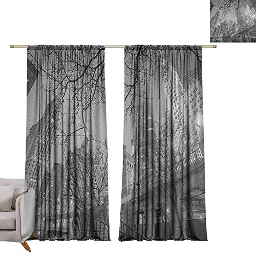 berrly Grommet Top Drapes Black and White,Chicago City Downtown Nighttime Highrise Buildings Tree Branches, Grey Black White W84 x L108 Living Room Drapes