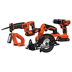 The BLACK+DECKER BD4KITCDCRL 20V max* Combo Kit features a drill/Driver, a Circular saw, a Reciprocating saw, and a work light. This Combo Kit is part of the BLACK+DECKER 20V max* battery system; compatible with the full line of Black & D...