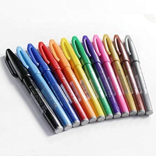 nero, rosso, arancio, marrone, azzurro, grigio Pentel SES15 Brush Sign Pen pennarello punta fibra flessibile 6 pz colori assortiti