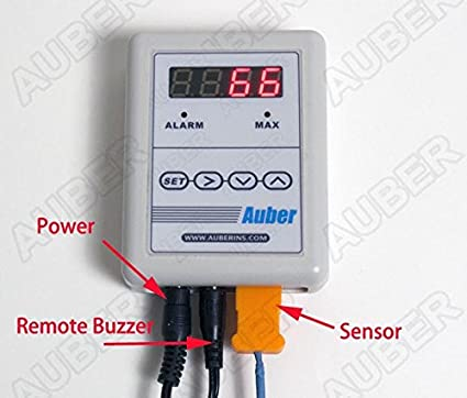 Auber Instruments Thermometer for Stove Pipe,Chimney,Outdoor Wood Boiler (Magnet Probe for Surface Temperature (TC-K-MAG))