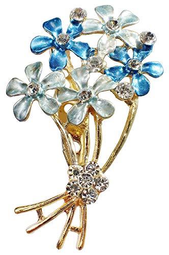 - Bijoux De Ja Gold Tone Enamel Rhinestone Faux Pearl Floral Bouquet Woman Brooch Pin (Blue)