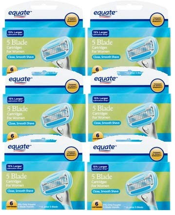 Equate 5 Blade Cartridges for Women, 6 count (Pack of 6) by Equate*