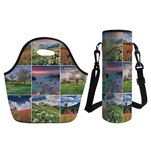 3D Print Neoprene lunch Bag with Kit Neoprene Bottle Cover,Summer,Collage with Nine Different Square Framed Freshening Summer Landscapes Rural Nature,Multicolor,for Adults Kids - Framed Jug