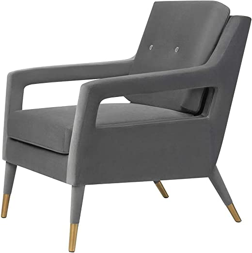 MEXIYA Modern Textured Velvet Upholstered Grey Accent Arm Chair