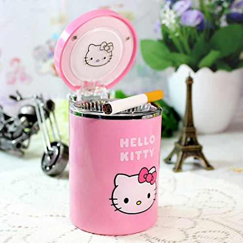 uto Car Cigarette Ashtray Ash Bin with Lid Cover and LED Light, Pink Hello Kitty ()