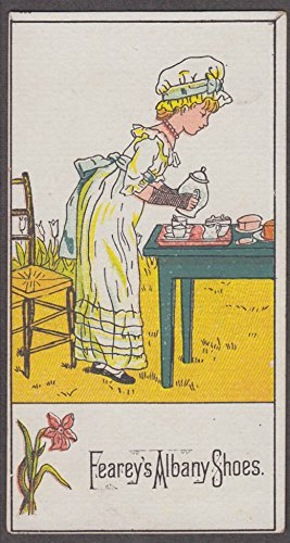 Albany Shoe (Fearey's Albany Shoes Victorian trade card Greenaway-style girl at tea 1880s)