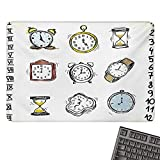ClockE-Sports Gaming Mouse PadCollection of Vintage Style Watches and Doodled Clocks Hand Drawn